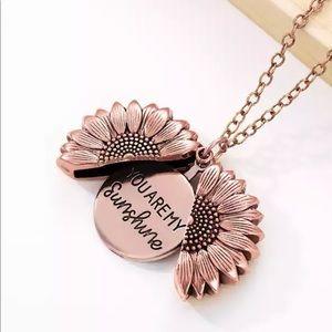 You are my sunshine rose gold unisex  necklace